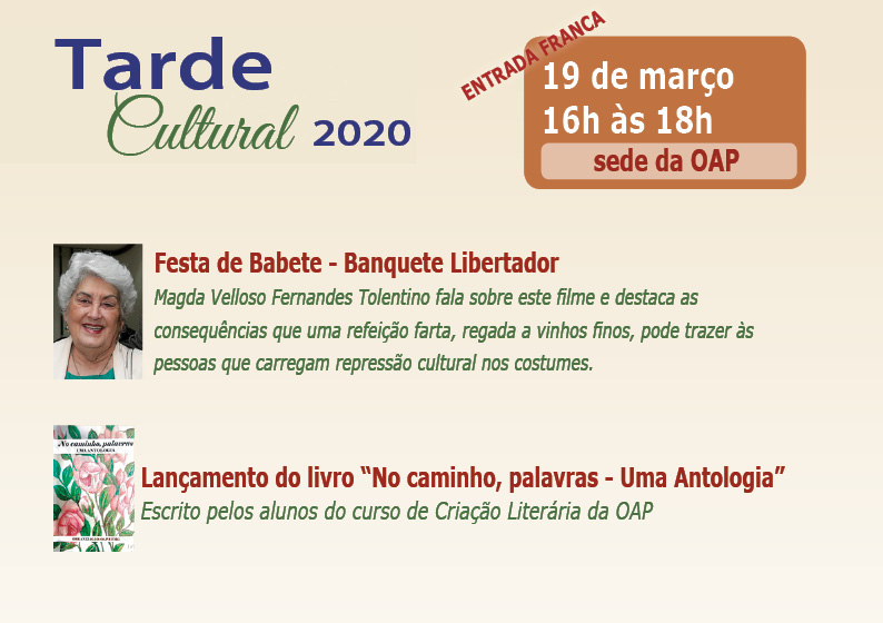 20 mar - Tarde Cultural